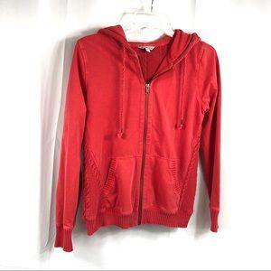 Lucky Lotus Coral Sweater Trim Zipper Hoodie Small